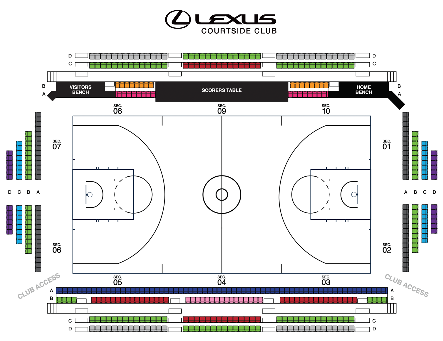 Timberwolves Lexus Courtside Club Seating Map