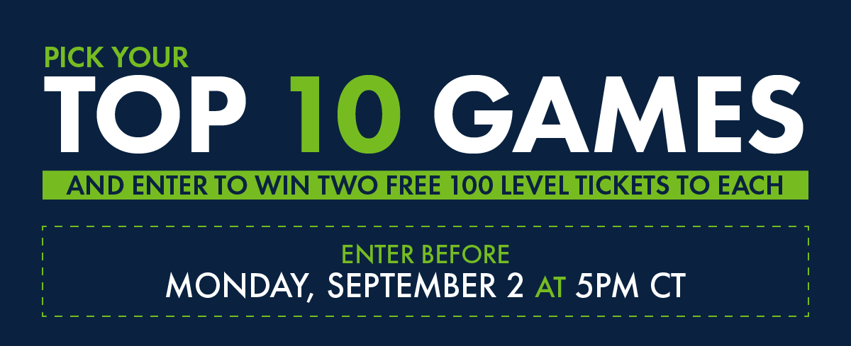 Pick your top 10 games and enter to win two free 100 levels to each.