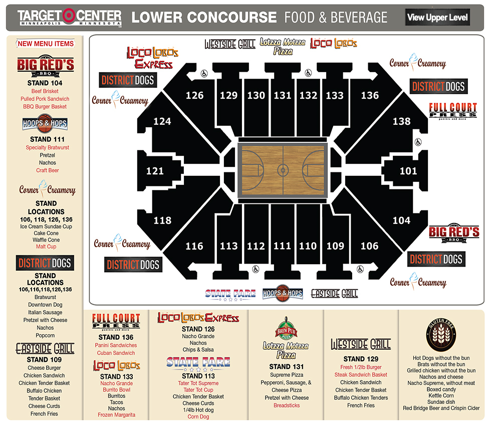 Target Center Map Target Center Food Locater   Lower Concourse | Minnesota Timberwolves Target Center Map