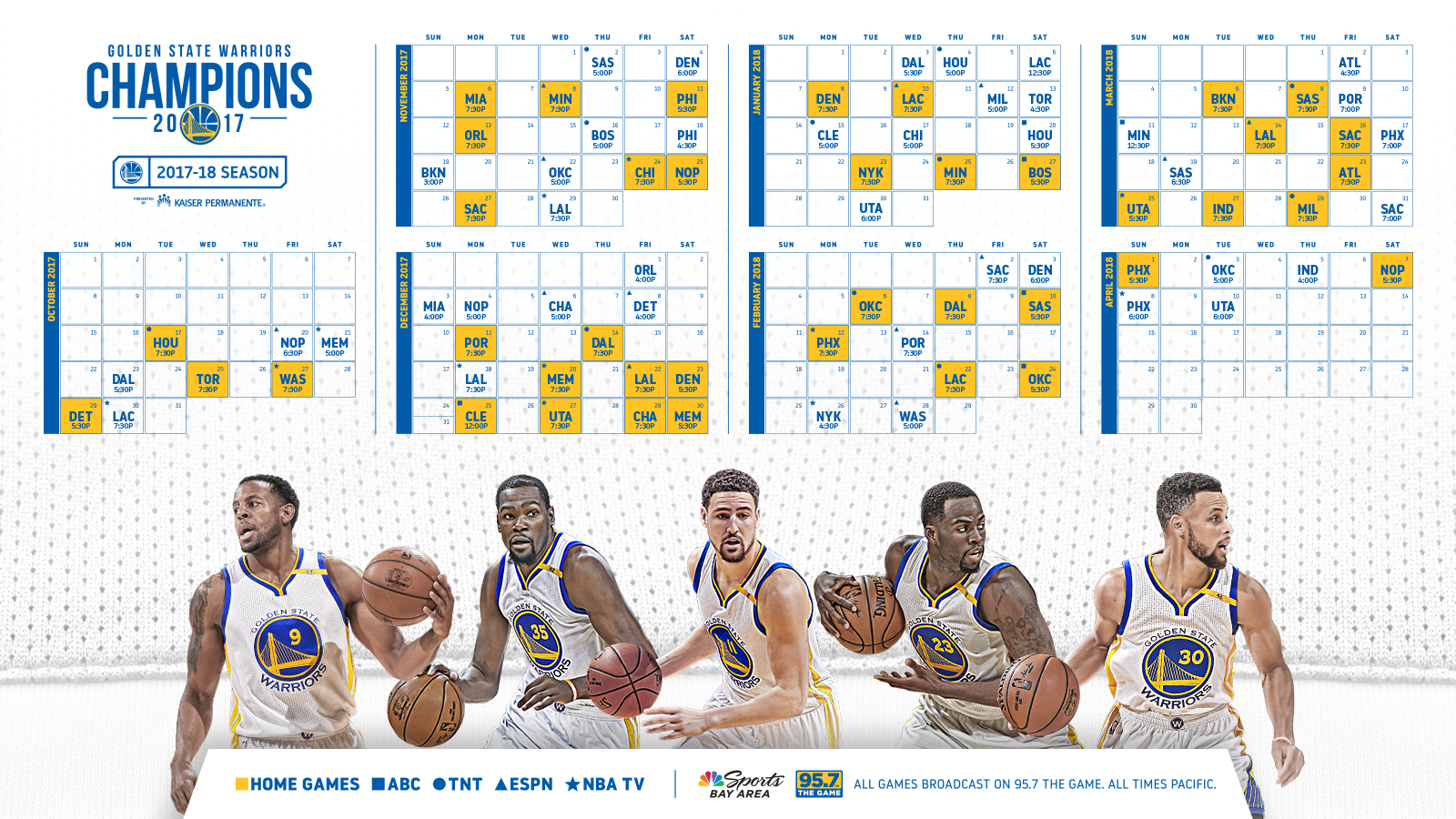 photo relating to Warriors Schedule Printable named NBA Winner Golden Region Warriors Announce Routine for