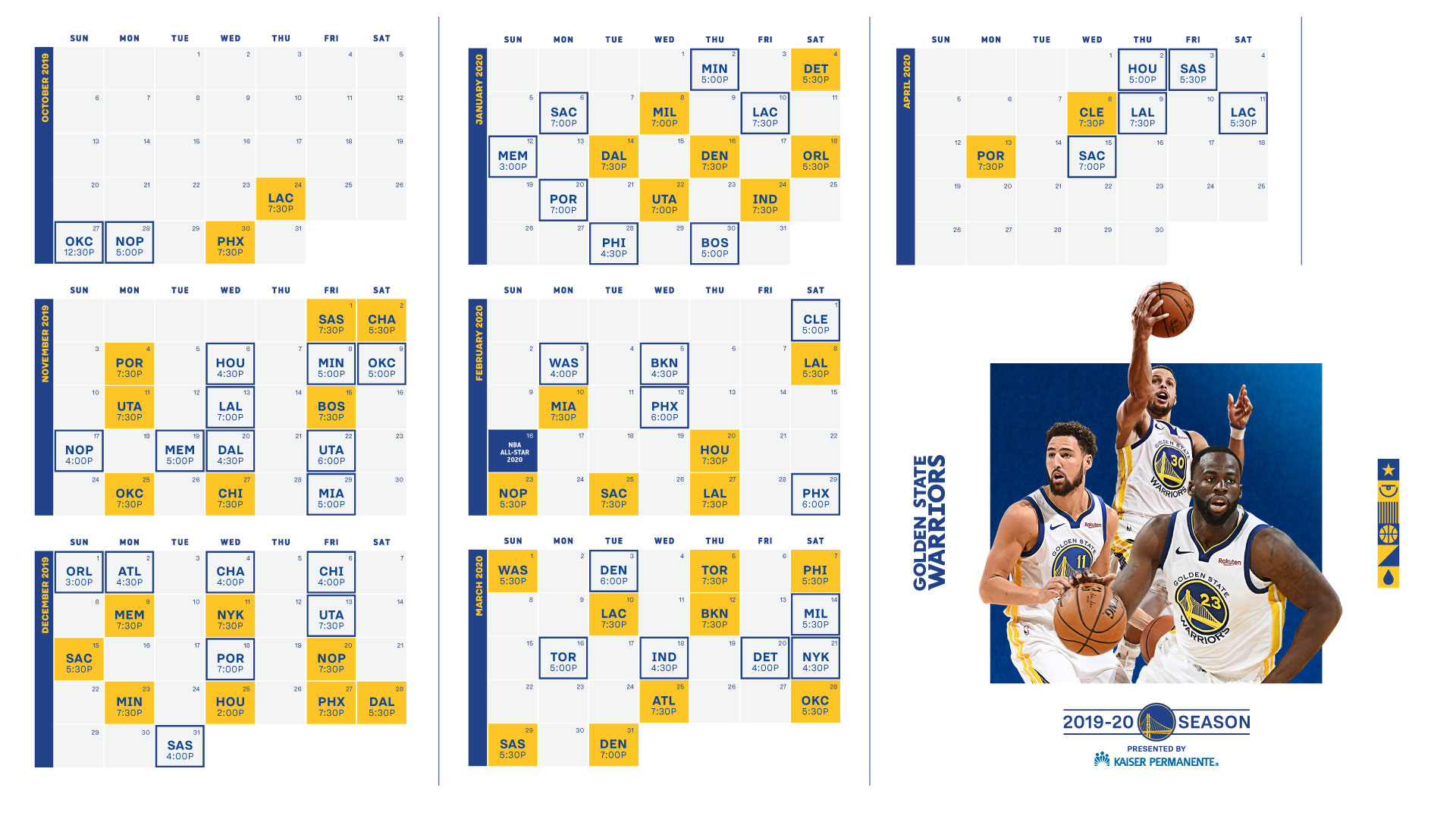 graphic regarding Golden State Warriors Printable Schedule referred to as Golden Region Warriors Announce 2019-20 Period Agenda