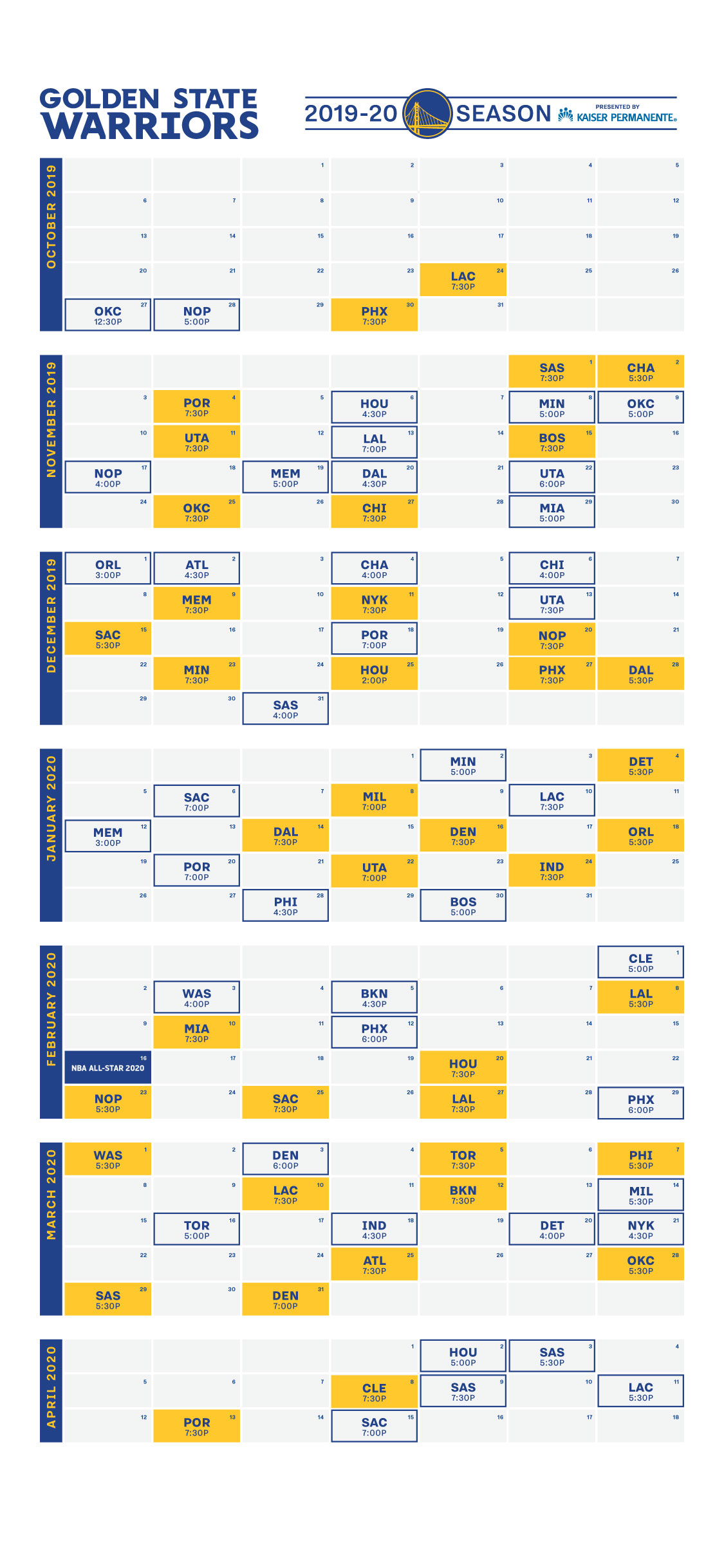 picture regarding Atlanta Braves Schedule Printable called Golden Place Warriors Announce 2019-20 Year Agenda