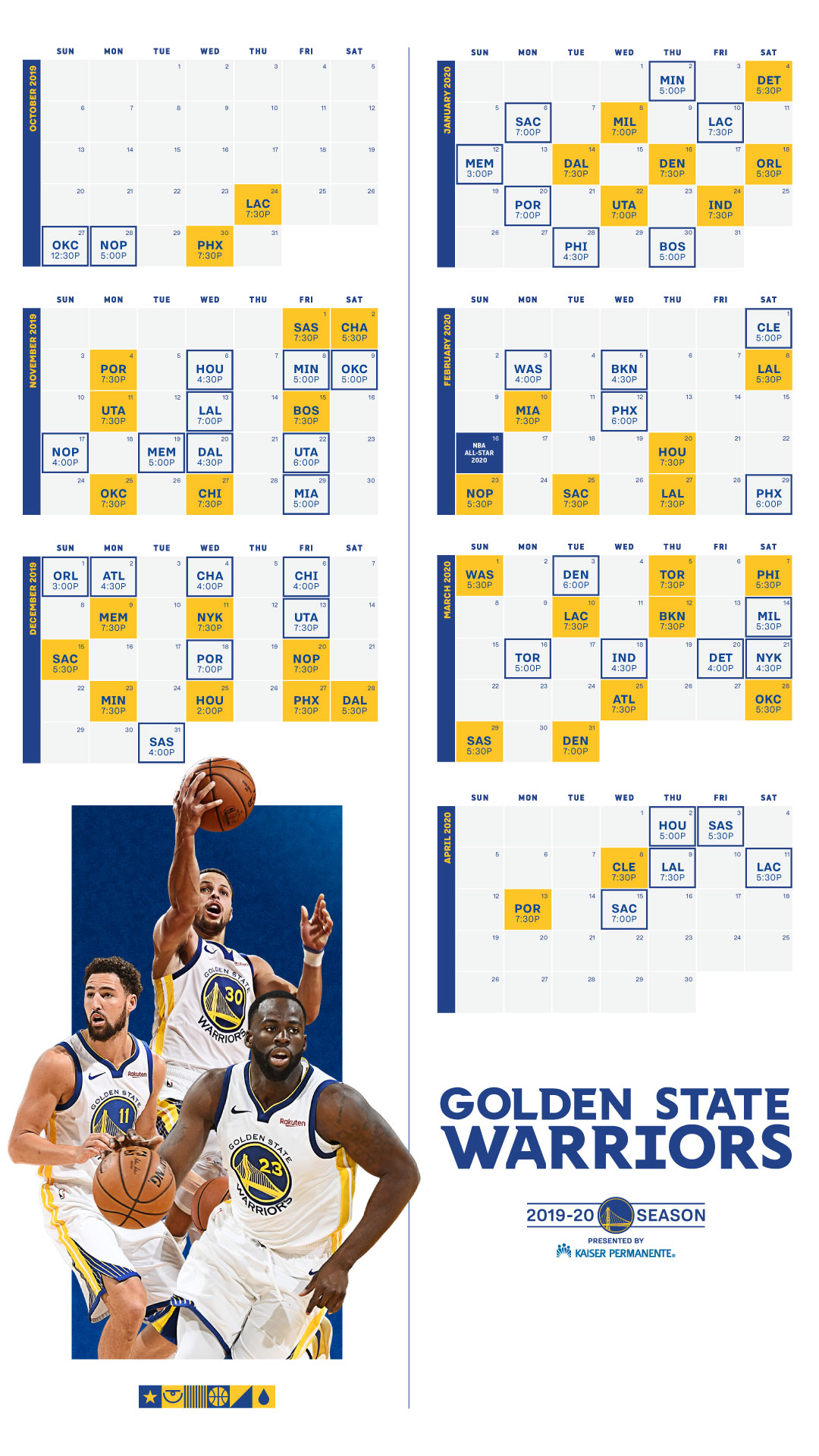 Golden State Warriors GSW Schedule 2019-20 NBA Season