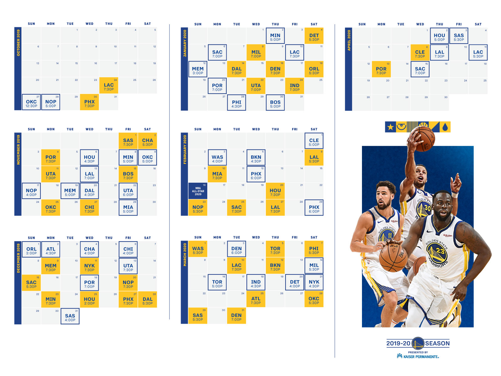 image about Warriors Printable Schedule called Golden Place Warriors Announce 2019-20 Time Agenda