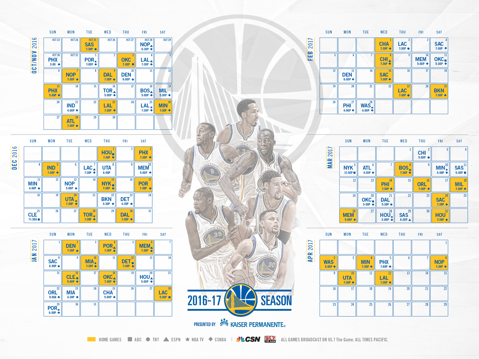 Golden State Warriors Announce Schedule for 2016-17 Season | Golden State Warriors