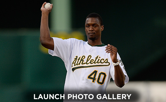 Harrison Barnes threw out the first pitch at Tuesday's A's game.