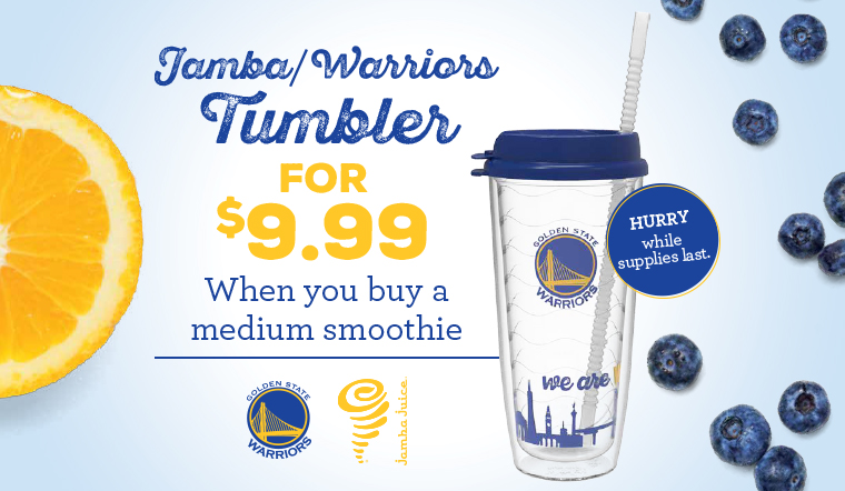 Warriors/Jamba Tumbler for $9.99