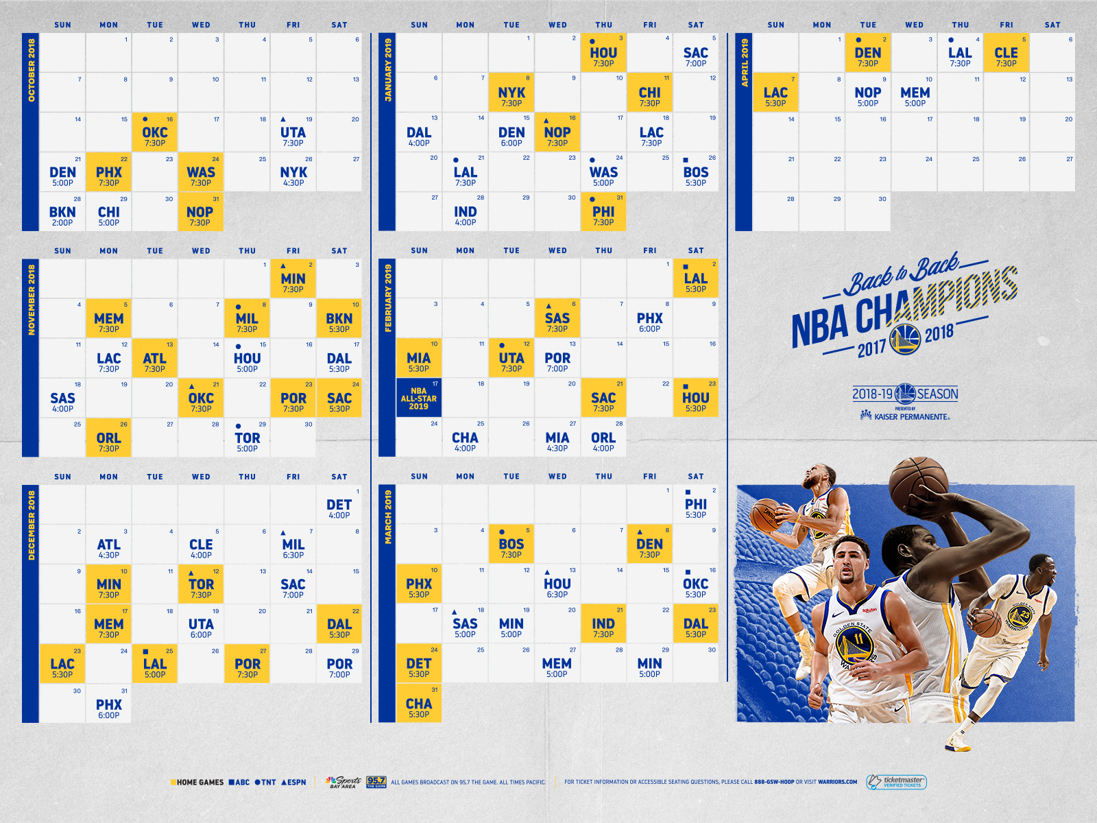image about Warriors Schedule Printable named Again-In direction of-Again NBA Winner Golden Nation Warriors Announce