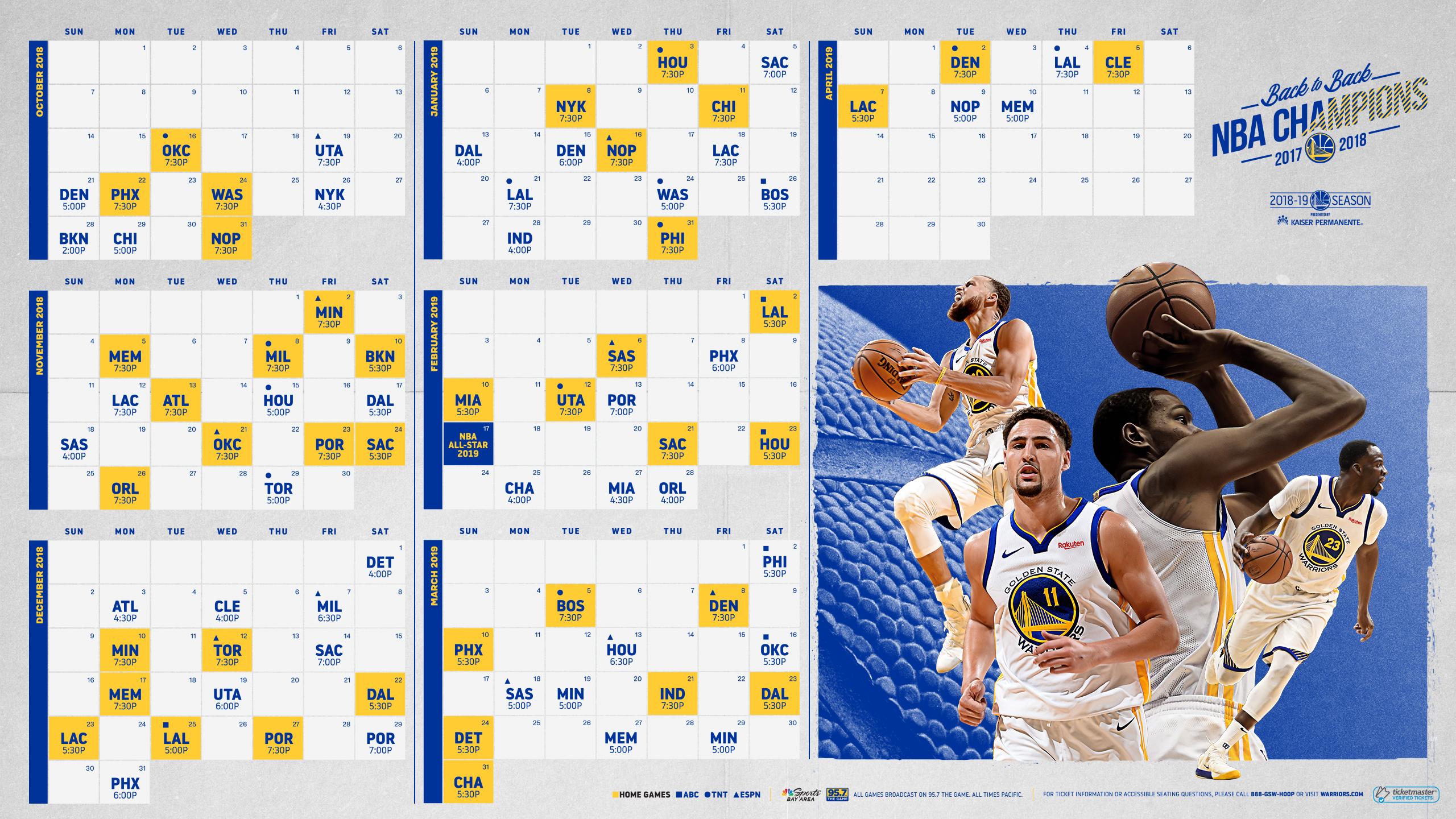 picture regarding Warriors Schedule Printable known as Again-In the direction of-Again NBA Winner Golden Country Warriors Announce