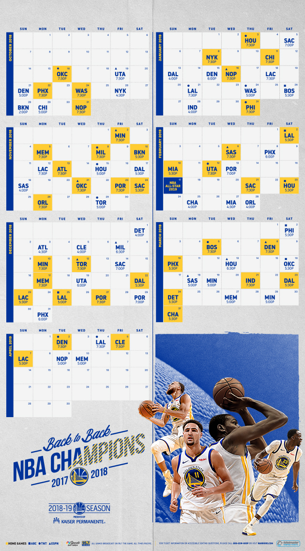 photo regarding Golden State Warriors Printable Schedule known as Again-In the direction of-Again NBA Winner Golden Country Warriors Announce