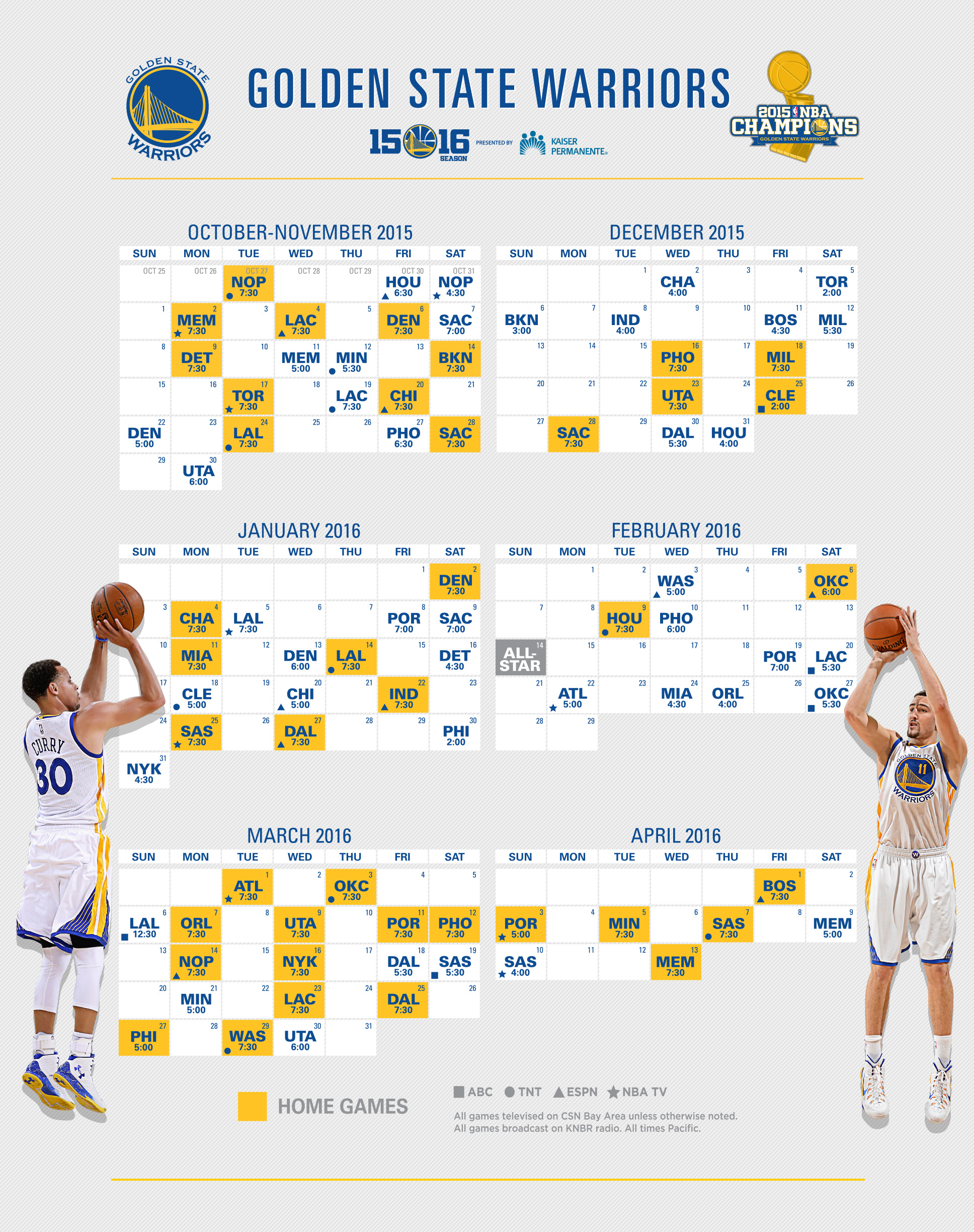 Bright image within warriors schedule printable