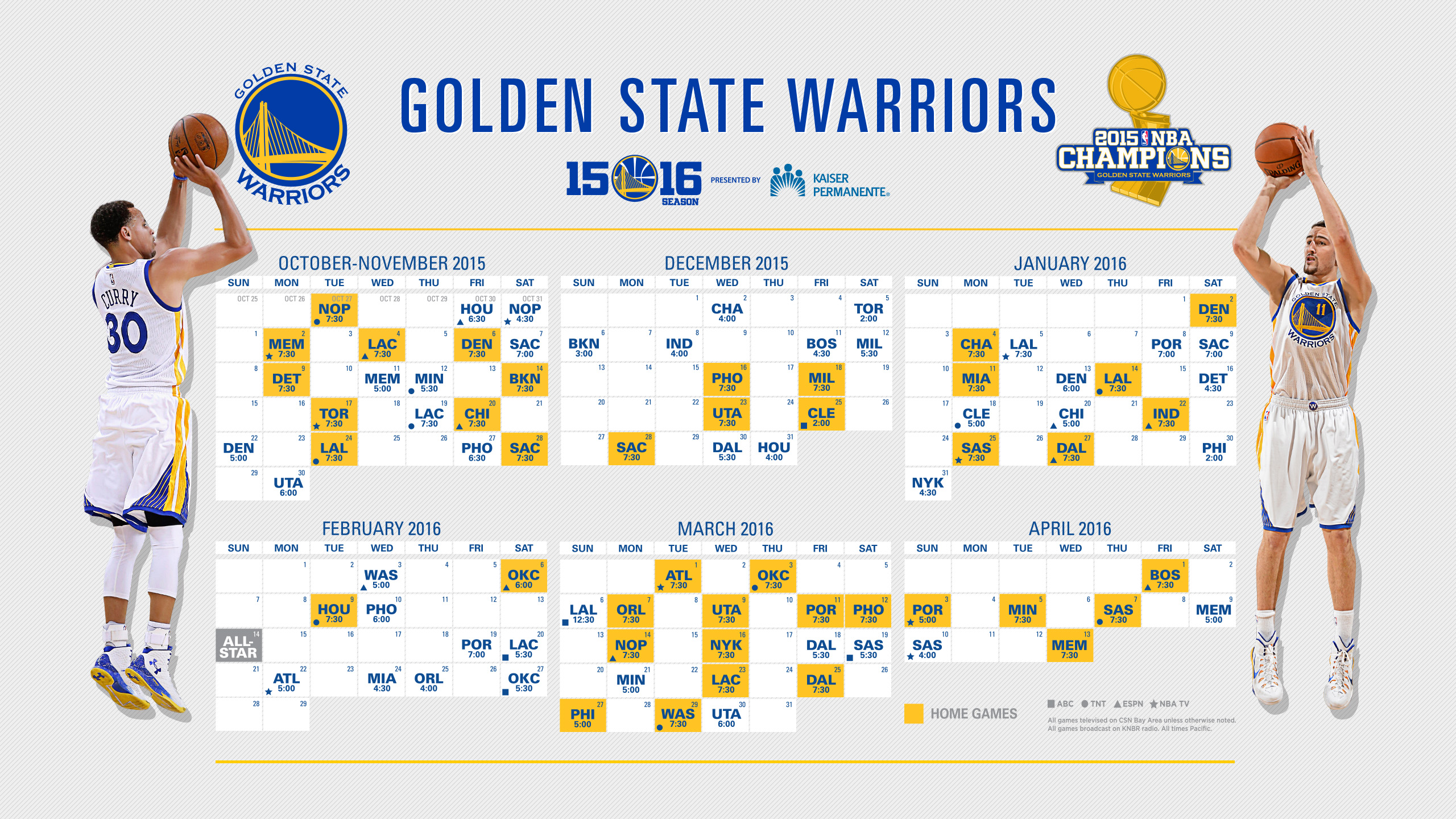 NBA Champion Golden State Warriors Announce Schedule for ...