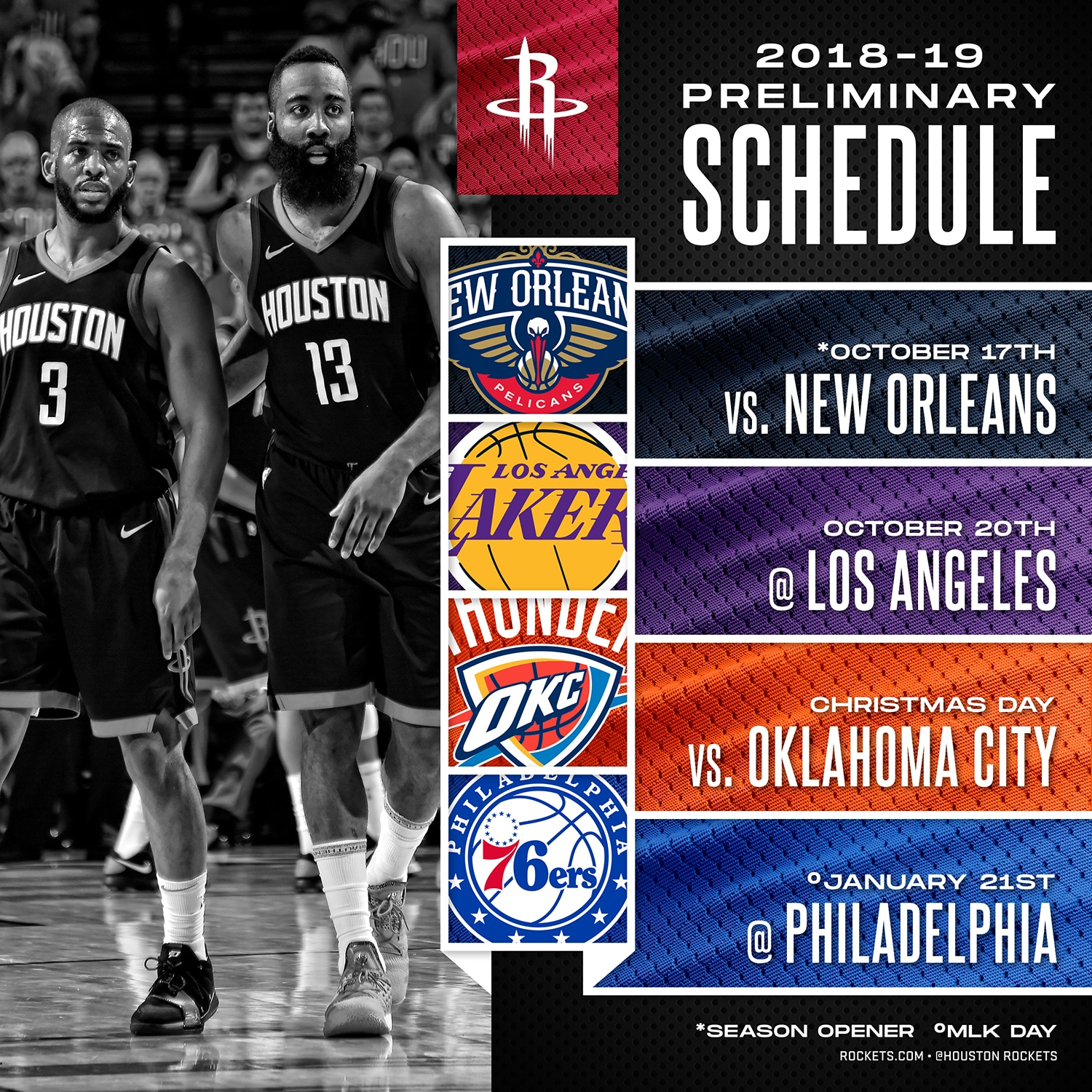 rockets 2018-19 preliminary schedule announced | houston rockets