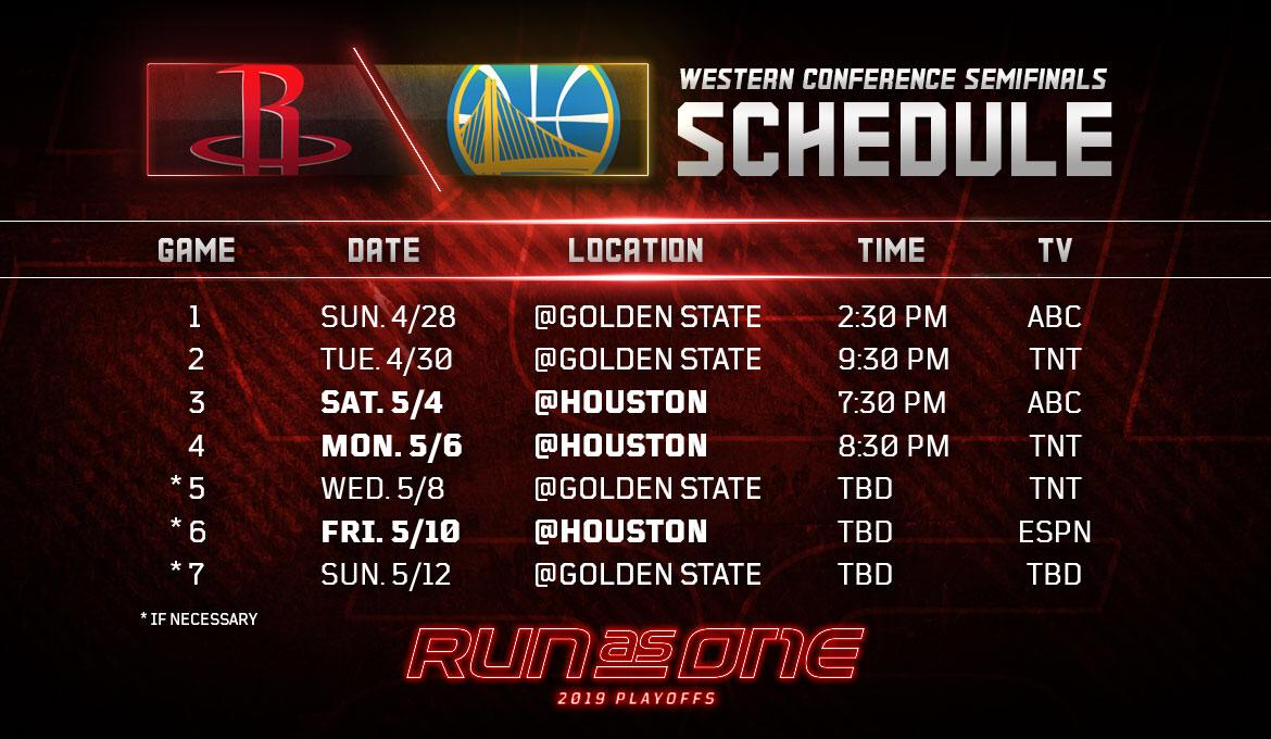 2019 Nba Playoffs Western Conference Semifinals Schedule Released Houston Rockets