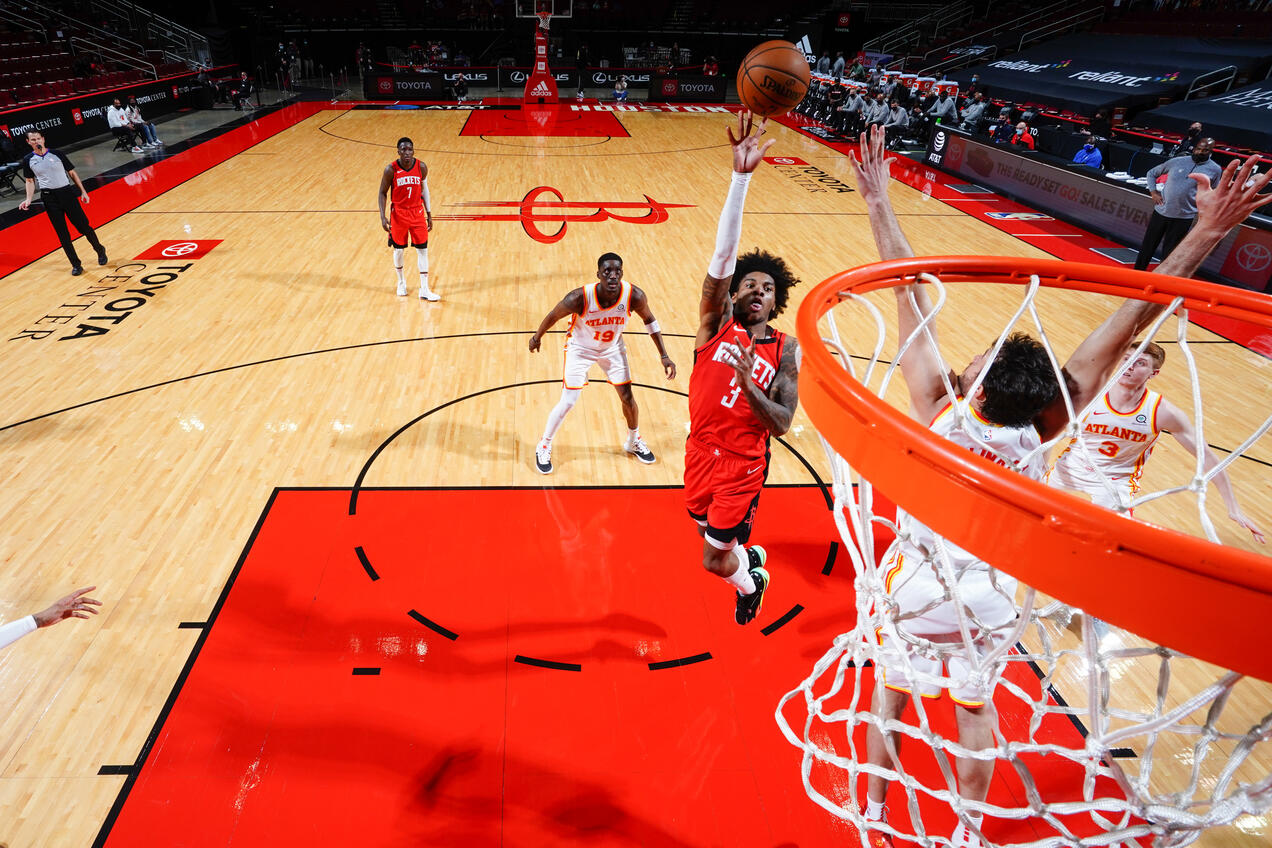 HOUSTON, TX - MARCH 16: Kevin Porter Jr. #3 of the Houston Rockets shoots the ball during the game against the Atlanta Hawks on March 16, 2021 at the Toyota Center in Houston, Texas. (Cato Cataldo/NBAE via Getty Images)