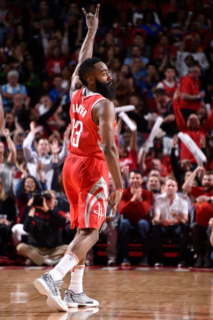 HOUSTON, TX - JANUARY 20: James Harden #13 of the Houston Rockets reacts