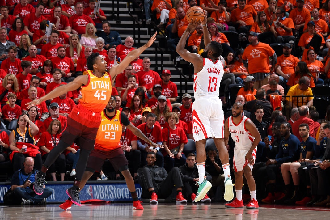 HOUSTON, TX - MAY 4: James Harden #13 of the Houston Rockets shoots the ball over Donovan Mitchell #45 of the Utah Jazz during Game Three of the Western Conference Semifinals of the 2018 NBA Playoffs on May 4, 2018 at the Vivint Smart Home Arena Salt Lake City, Utah. (Andrew D. Bernstein/NBAE via Getty Images)