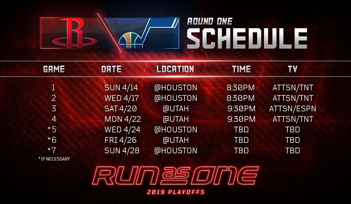 image relating to Utah Jazz Schedule Printable identify 2019 NBA Playoffs: Rockets Initial Spherical Plan Produced