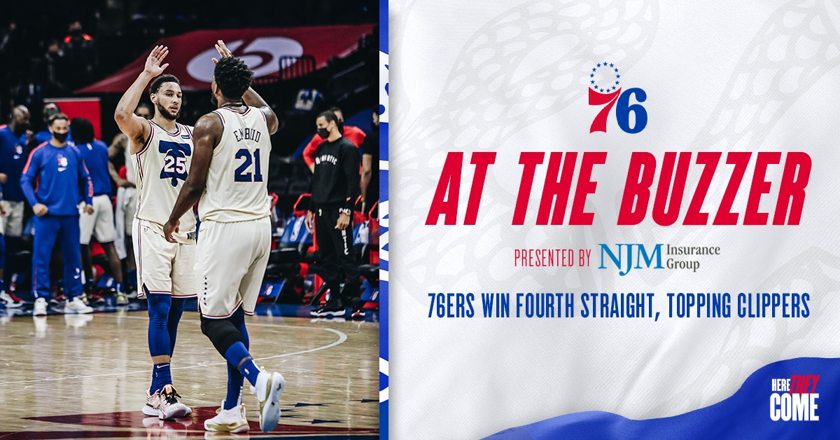 76ers Win Fourth Straight Topping Clippers