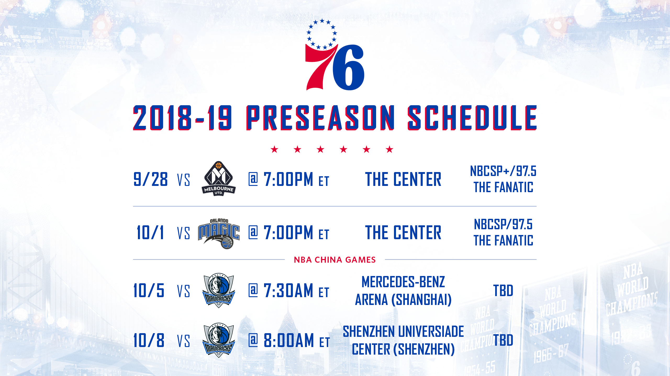 graphic regarding 76ers Printable Schedule named 2018/19 Preseason Timetable Introduced Philadelphia 76ers
