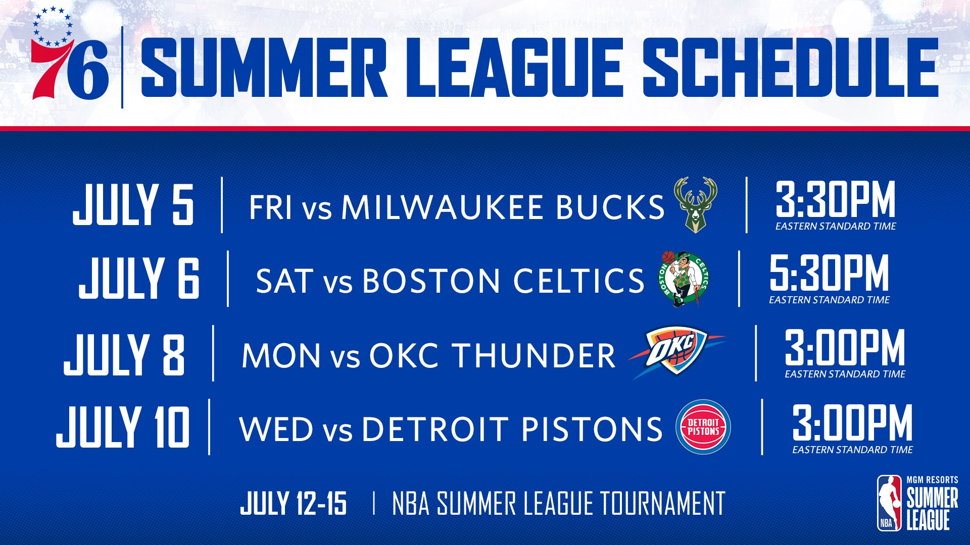 photograph relating to 76ers Printable Schedule known as NBA Announces Program for 2019 Summer time League Philadelphia