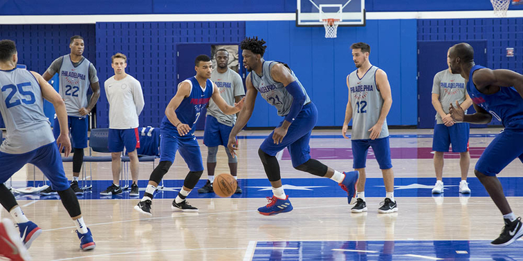 Joel Embiid Participates In 5-On-5 Action