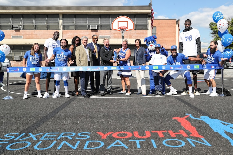 Sixers Youth Foundation City Of Camden Unveil Court Philadelphia 76ers