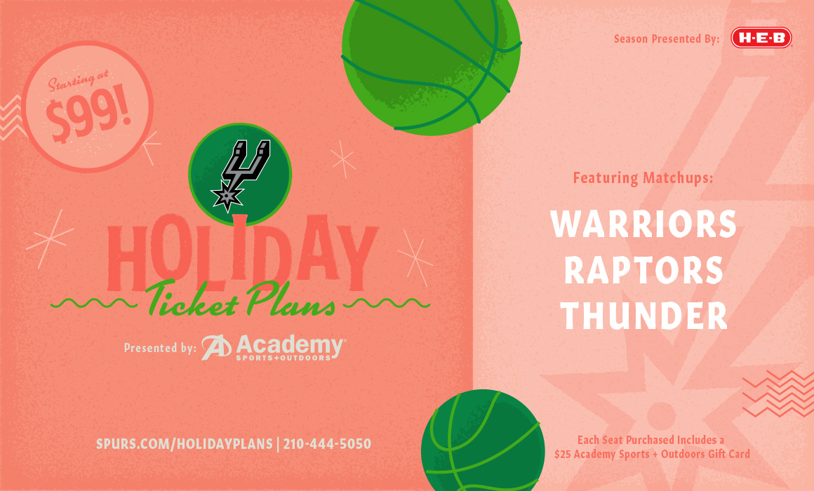 2018 SPURS HOLIDAY PLANS PRESENTED BY ACADEMY SPORTS  OUTDOORS AVAILABLE NOW