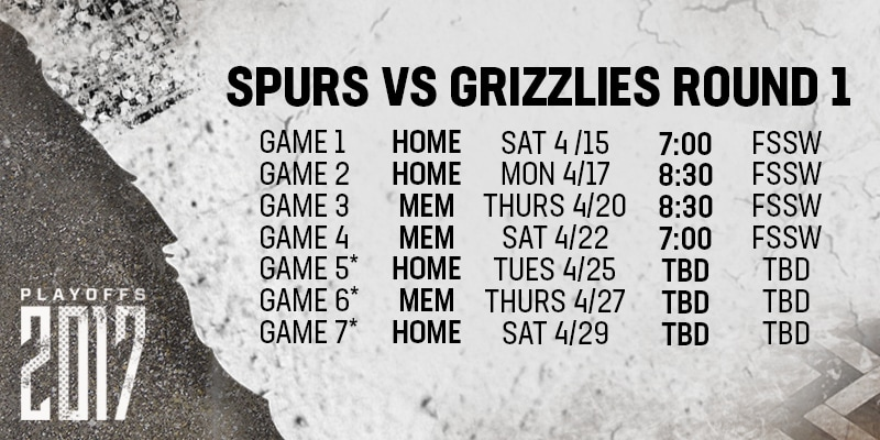 SAN ANTONIO SPURS ANNOUNCE BROADCAST SCHEDULE FOR THE FIRST ROUND OF THE 2017 NBA PLAYOFFS