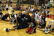 Tony Parker Visits Basketball Camp
