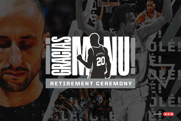 06ca23df921 Details Announced for Manu Ginobili Jersey Retirement Night Presented by  H-E-B. Postgame Ceremony to ...