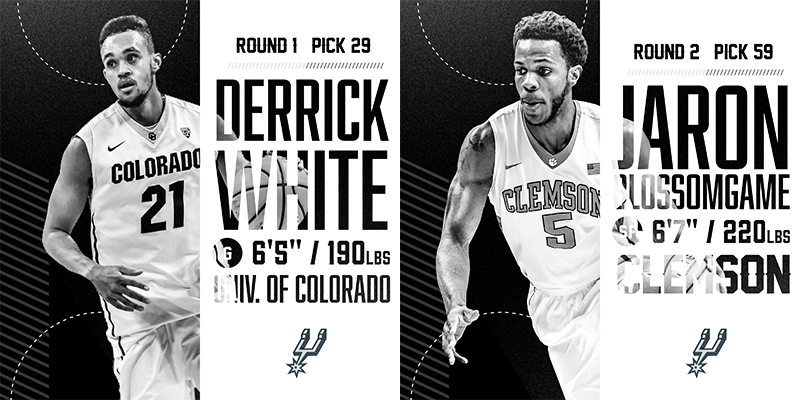 SPURS SELECT DERRICK WHITE AND JARON BLOSSOMGAME IN 2017 NBA DRAFT