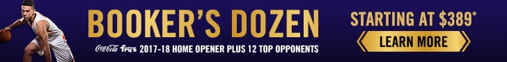 Booker's Dozen, Starting at $389, Inlucdes 2017-18 Home Opener plus 12 top opponenets, LEARN MORE