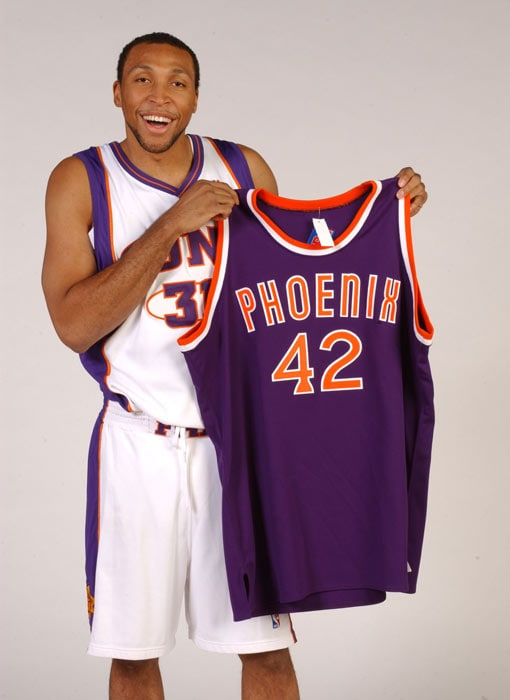 58b6cf2a9c62 Marion shows off a Connie Hawks throwback that was available in the Suns  Team Shop at