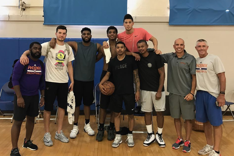 Suns players and Earl Watson in Los Angeles, California