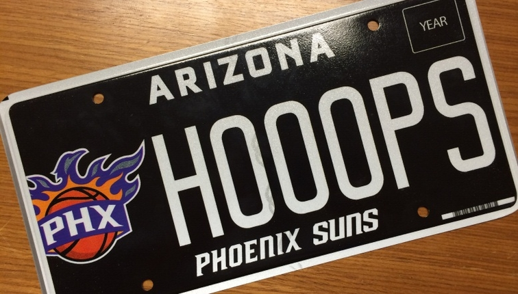 Suns adot mvd debut new team license plate phoenix suns for Third party motor vehicle division