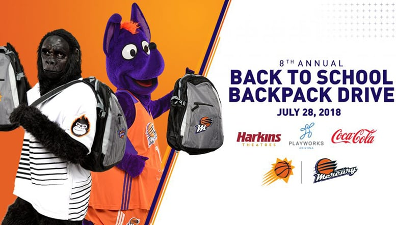 Suns Mercury Harkins Theatres  Coca-Cola to Host Eighth Annual Back-To-School Backpack Drive