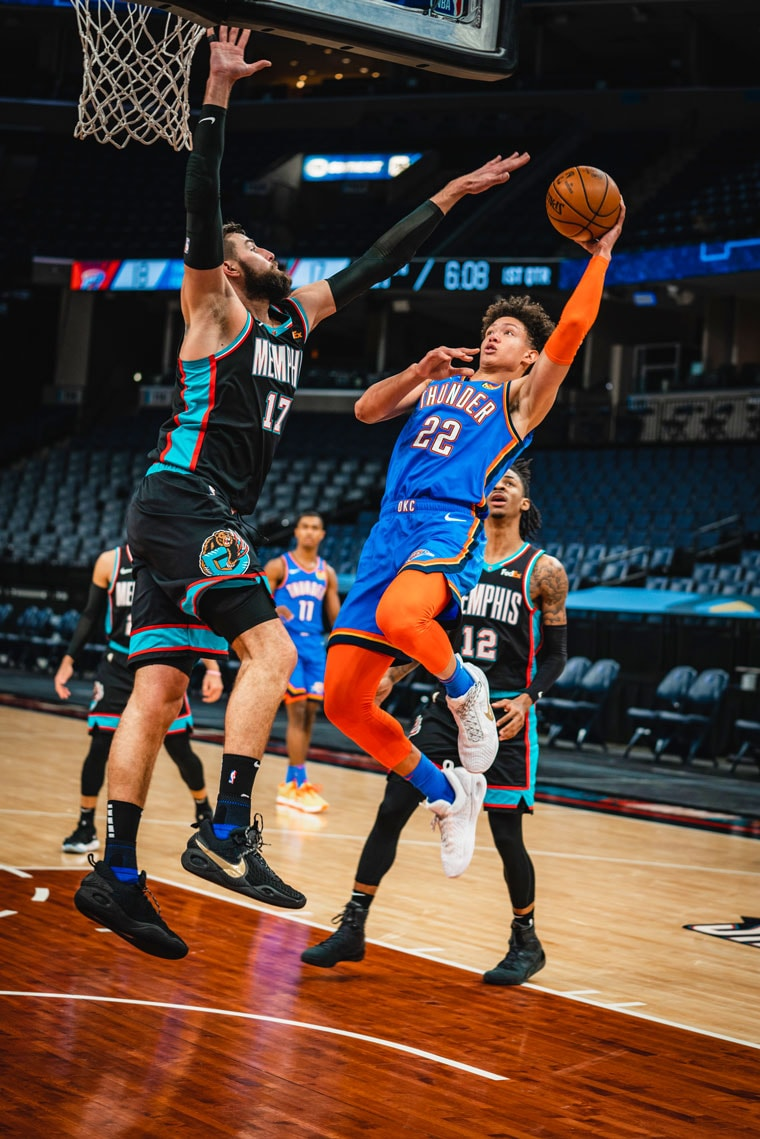 The game featured 13 ties and nine lead changes, but the Thunder fell, 122-113, in Memphis.(Photo by Coby Van Loan   OKC Thunder)
