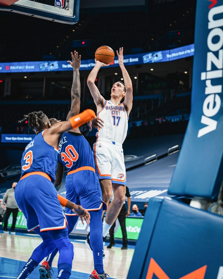 Seven Thunder players scored in double-figures, but it wasn't enough in Saturday's 119-97 loss to the Knicks.(Photo by Coby Van Loan   OKC Thunder)
