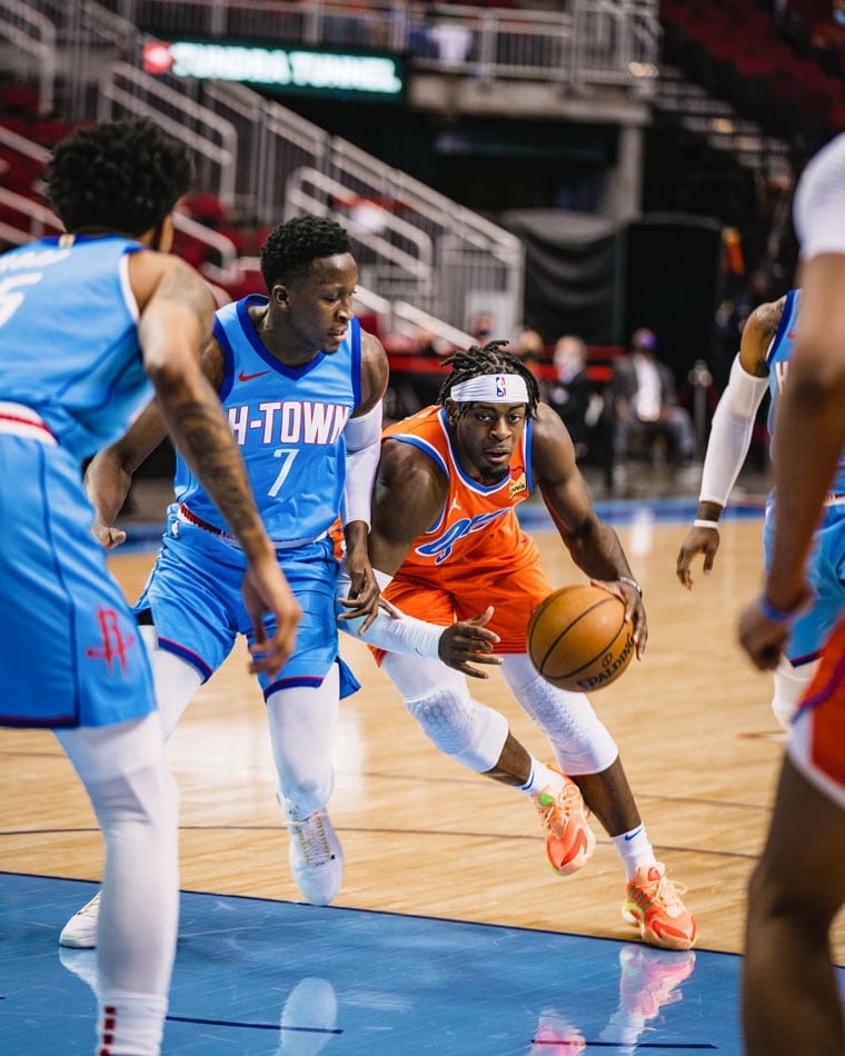 Six Thunder players scored in double-figures on 22 total assists in Sunday's 114-112 road win in Houston.(Photo by Coby Van Loan   OKC Thunder)