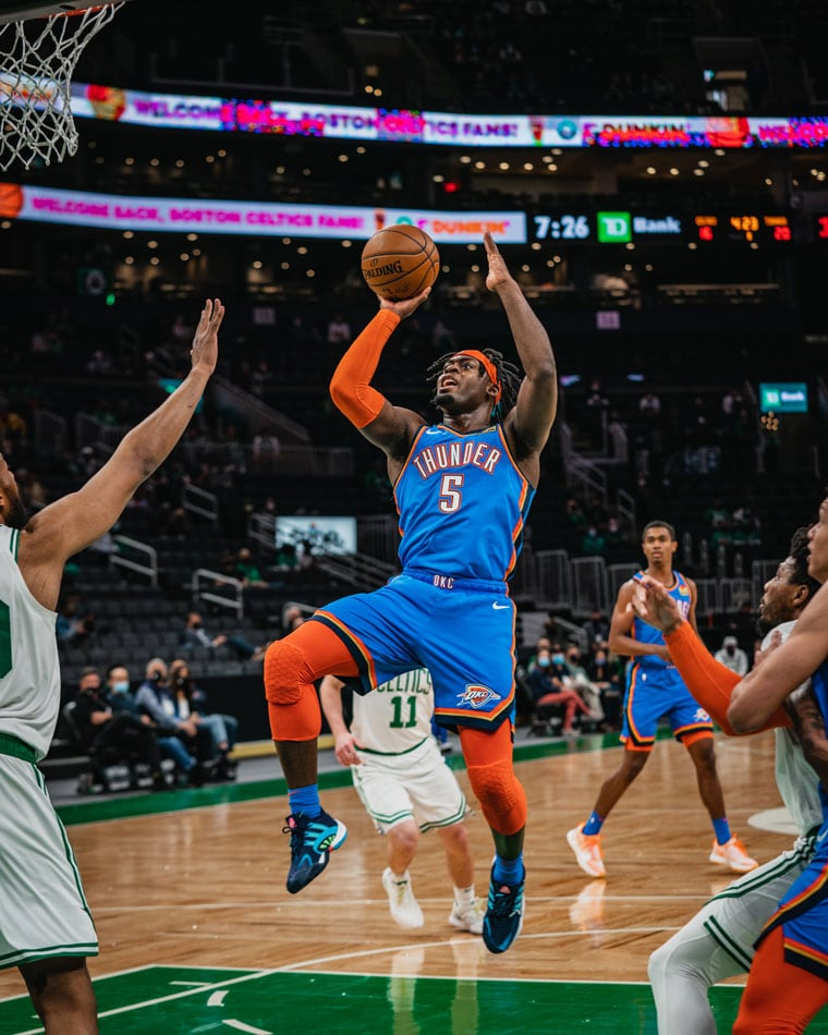 The Thunder erupted for 41 points in the final frame to earn a 119-115 win over the Celtics.(Photo by Coby Van Loan   OKC Thunder)