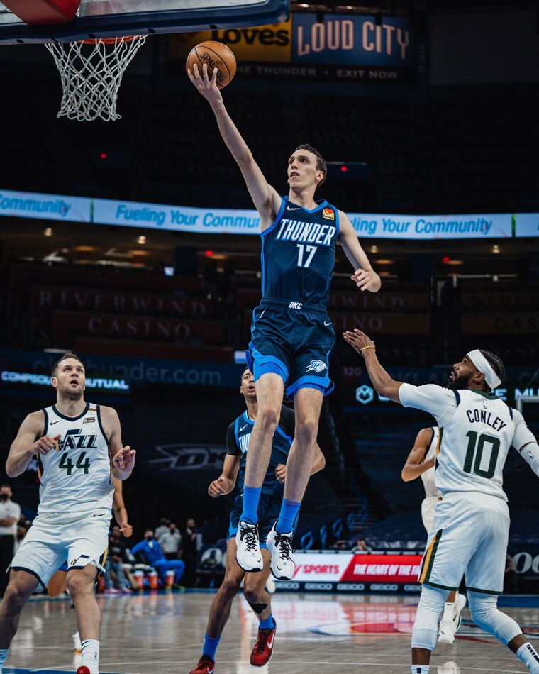 The Thunder edged the Jazz, 56-50, bench points, but fell, 109-93, to Utah. Regular season finale is Sunday at 8 p.m. CT.(Photo by Coby Van Loan   OKC Thunder)