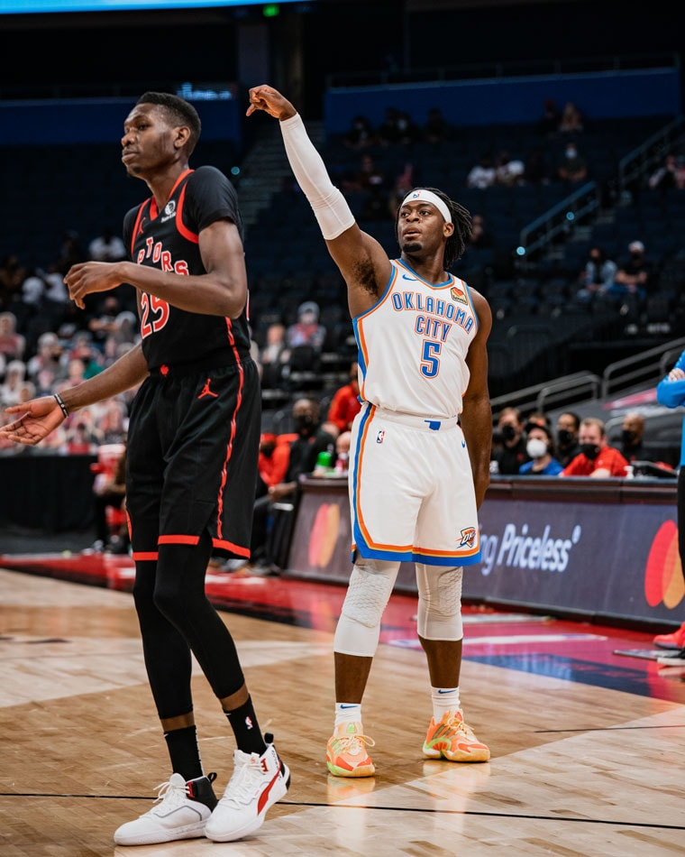 The see-saw battle featured 24 lead changes, but OKC fell late, 112-106, to Toronto. Up next: Monday in D.C. (Photo by Coby Van Loan | OKC Thunder)