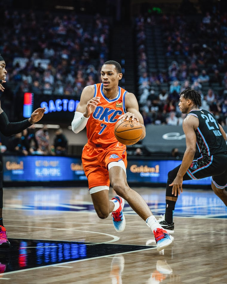 A second-half lull slowed OKC's attack in Tuesday's 122-106 loss to the Kings. Up next: Thunder hosts Jazz on Friday.(Photo by Coby Van Loan | OKC Thunder)