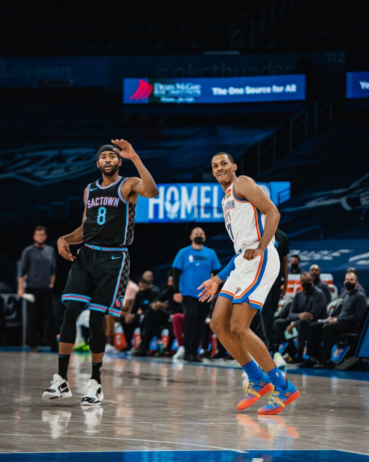 Trailed by as many as 17 points, OKC erupted in the 4th quarter to get within one, but came up short, 103-99, to the Kings.(Photo by Coby Van Loan   OKC Thunder )