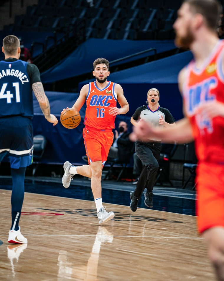 OKC's reserves posted 46 points on 62-percent shooting including 10-for-15 from distance in Monday's 112-103 win in Minnesota.(Photo by Coby Van Loan | OKC Thunder)