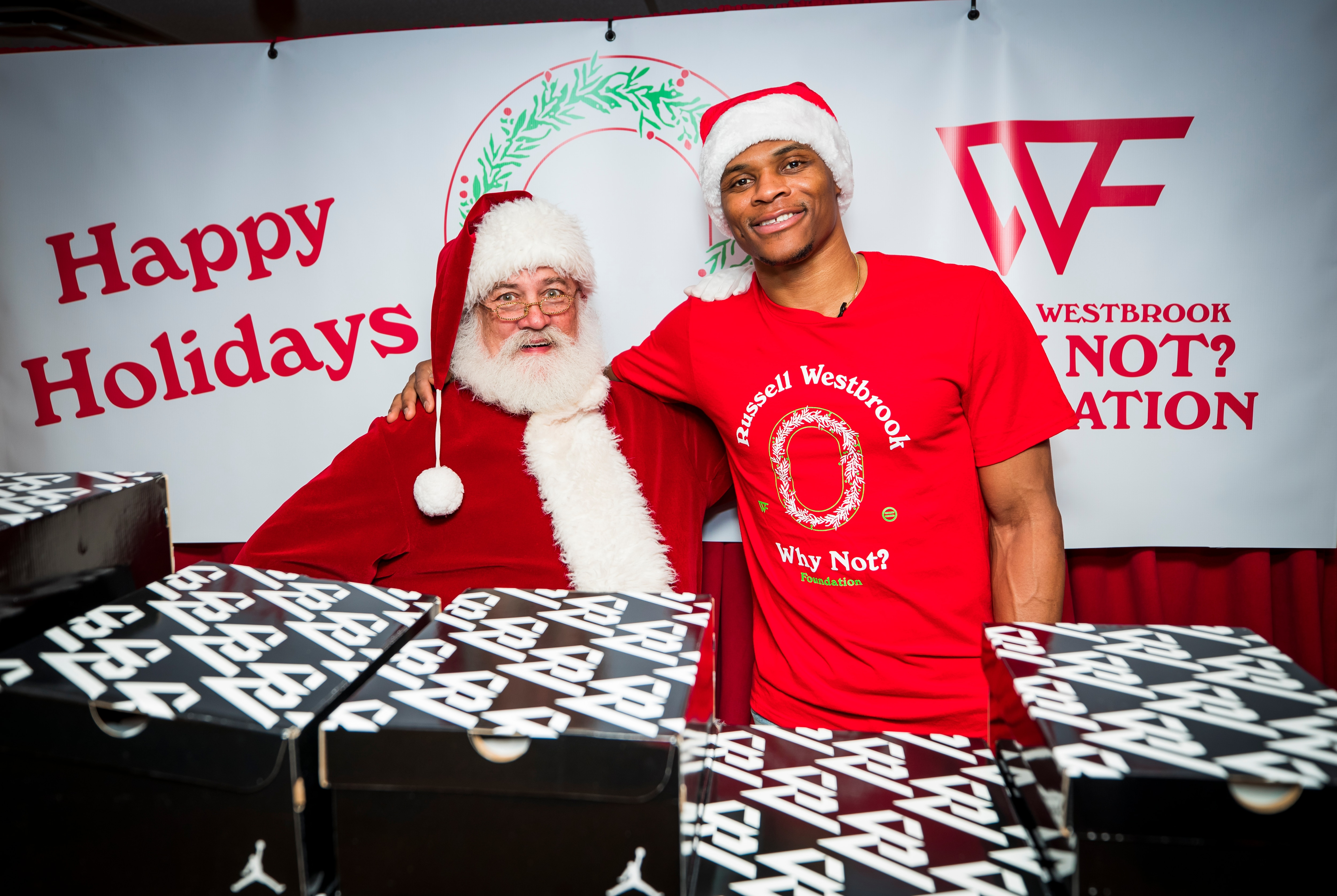 2eed58d453ed Russell Westbrook and the Why Not  Foundation hosted their annual Christmas  party providing shoes and