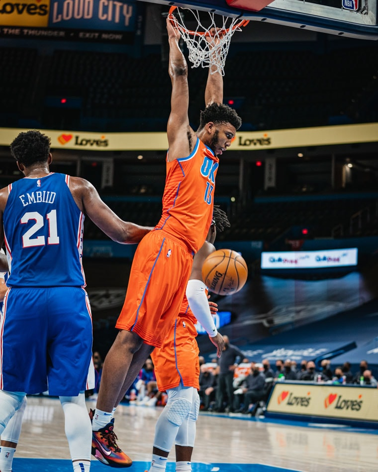 OKC outscored Philly, 60-46, in the paint but it wasn't enough in Saturday's 117-93 loss. Next: Tuesday in Utah.(Photo by Coby Van Loan   OKC Thunder)