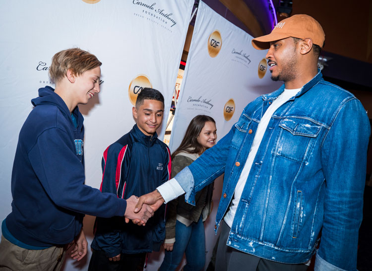 Carmelo Anthony Inspires Students With Red Carpet ...