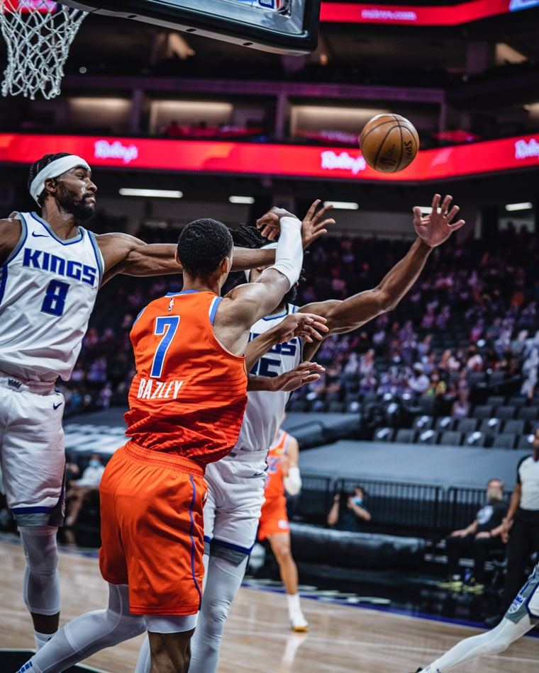 Six Thunder players scored in double-figures on 23 assists in Sunday's 126-98 loss in Sactown. Final road game on Tuesday.(Photo by Coby Van Loan | OKC Thunder)